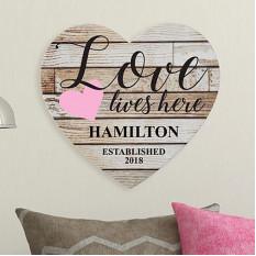 L'amour vit ici Coeur en bois