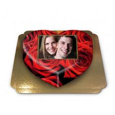 Cake roses rouges en forme de coeur (taille M)