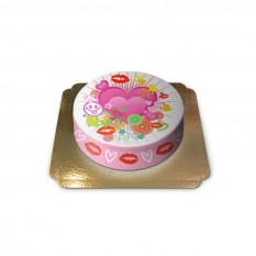 Gâteau aux coeurs et bisous (Petit)
