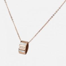 Pendentif en or rose en acier inoxydable avec nacre et pierres