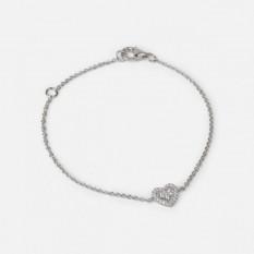 Bracelet chaîne en argent sterling avec breloque coeur et pierres zircones cubiques