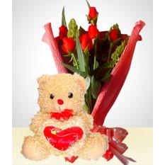 Combo Romantique: Bouquet de 6 Roses + Ours en peluche