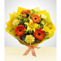 Bouquet printanier: Gerberas et oeillets