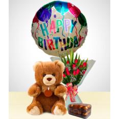 Anniversaire Combo A: 12 Roses Bouquet + Ours + Chocolats + Joyeux Anniversaire Ballon