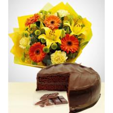 Sweet Spring Combo: Bouquet de Gerberas + Gâteau