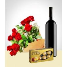 Elégance Combo: 12 Roses Bouquet + Chocolats + Vin