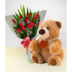 Caprice Combo: Bouquet de 12 Roses + Ours en peluche: