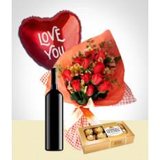 Inspiration Combo: Bouquet de 12 Roses + Ballon + Vin + Chocolats