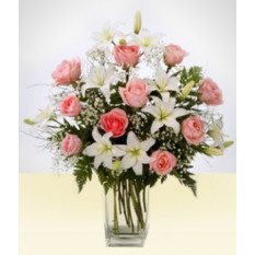 Amitié: Vase de Lys blanc et rose