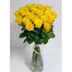 Bouquet Rond De Roses Jaunes, Roses 60 Mo (Moyenne)