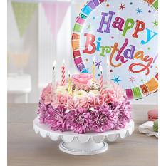Anniversaire Wishes Gâteau aux fleurs pastel (petit avec ballon)