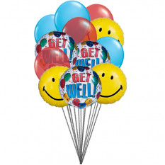 Ballons smiley Getwell (Ballons 6-Mylar et 6-Latex)