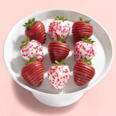9 Love Bites fraises enrobées de chocolat (taille Fun)