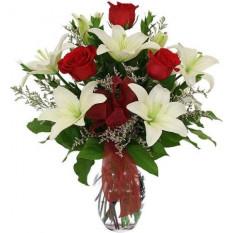 Vase Roses et Lilies