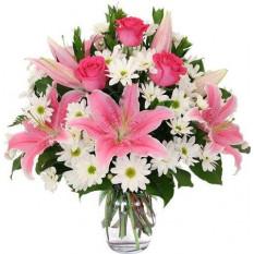 Fleur de fleurs roses et blanches