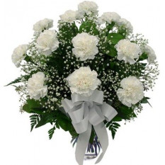 12 White Carnations Vase