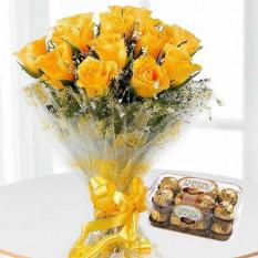 Bouquet de 12 roses jaunes avec 16 Ferrero Rocher
