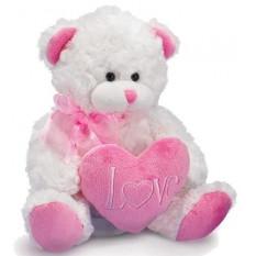 Grand ours en peluche rose et blanc