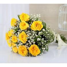 12 bouquet de roses jaunes