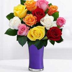 12 Vase à roses mélangées