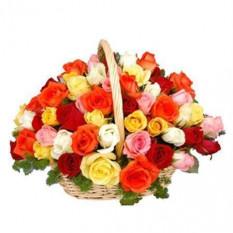 36 Panier de roses mélangées