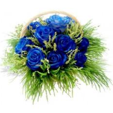 12 panier de roses bleues