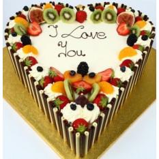 1,5 kg de gâteau aux fruits frais en forme de coeur