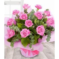 Bouquet de roses roses 12