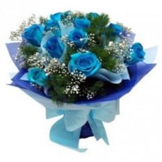 Bouquet De 12 Roses Bleues