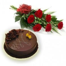 Grappe de 6 roses rouges et gâteau au chocolat de 1 kg