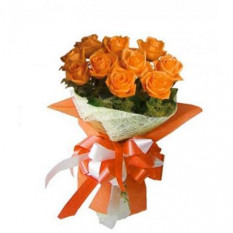 Bouquet de 12 roses d'oranges