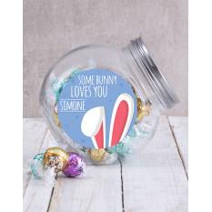 Pot de bonbons personnalisé de lapin vous aime (Nougat)