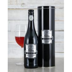 Boîte à vin personnalisée en argent avec plaque