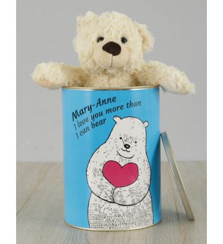 Personnalisé Love You Teddy Tin