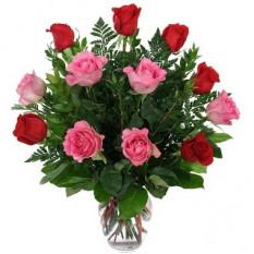 12 vases roses et roses rouges inclus