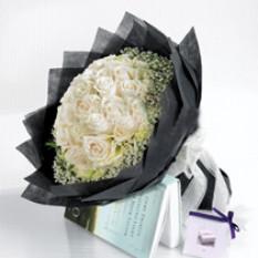 Bouquet de 50 roses blancs