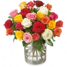 Bouquet de roses (24 roses) avec Fairtrade Max Havelaar-Roses - Petites fleurs