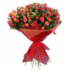 Bouquet rond de 35 roses rouges