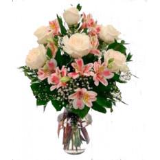 Bouquet de 7 roses et alstroemeria