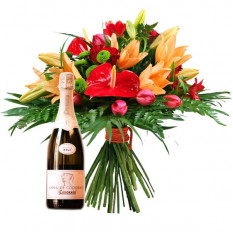 Bouquet Of Flowers And Champagne (Normal)