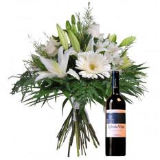 Bouquet de fleurs et de vin rouge (Large)