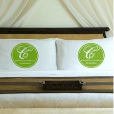 Ensemble de taie d'oreiller personnalisé monogramme magique vert frais