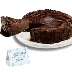 "Triple Chocolate Enrobed Brownie ""Get Well Soon"" Cake"