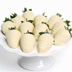 Fraises enrobées de chocolat blanc (6 fraises)