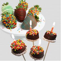 Joyeux anniversaire fraises et Brownie Pops